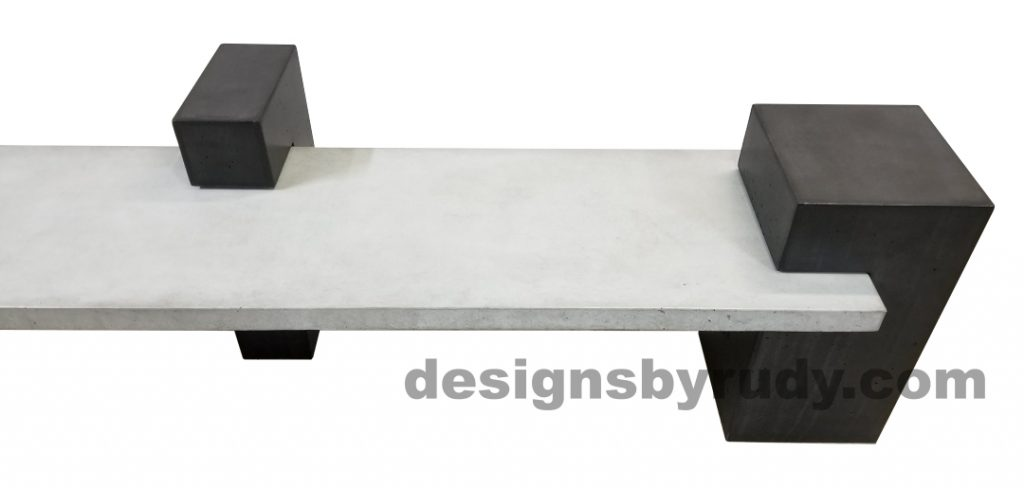 DR CB1 concrete bench on 3 pedestals by Designs by Rudy, partial right view, gray slab and 2 charcoal pedestals