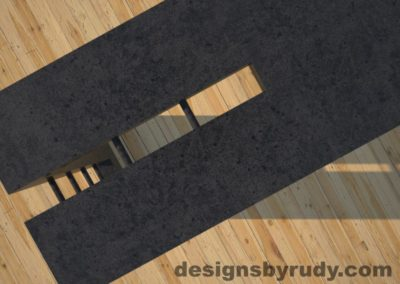 5 Double Split Charcoal Concrete Console Table top corner view closeup with steel accents Designs by Rudy