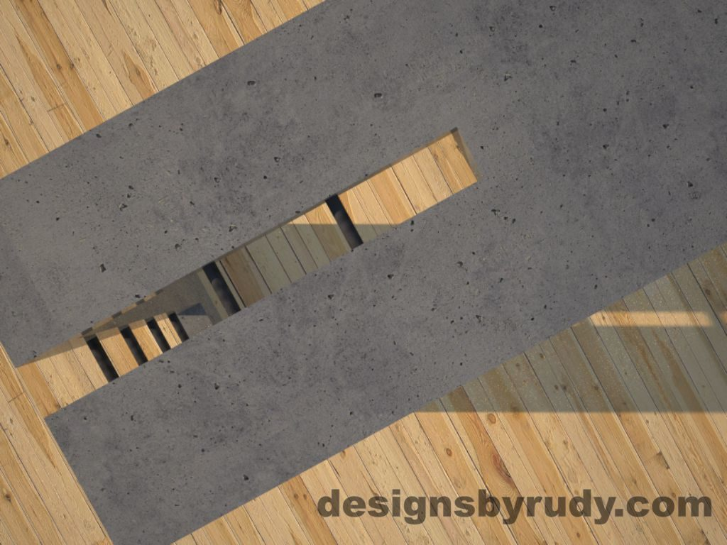 5 Double Split Gray Concrete Console Table top corner view closeup with steel accents Designs by Rudy