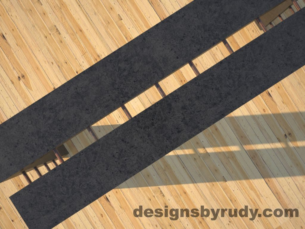 5 Full Split Charcoal Concrete Console Table top view closeup with copper accents Designs by Rudy