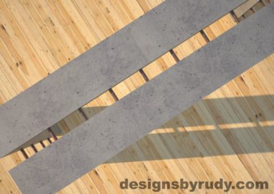 5 Full Split Gray Concrete Console Table with copper accents top view closeup, Designs by Rudy