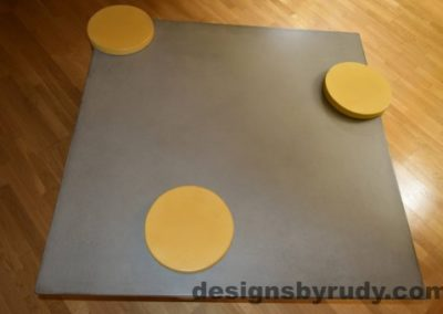 Gray Concrete Coffee Table Top with Yellow Caps, Designs by Rudy