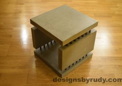 5 Gray Concrete Side Table DR0 full corner view no flash, Designs by Rudy
