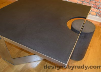 Black Concrete Coffee Table, Polished Steel Frame, top angle closer view, with flash Designs by Rudy