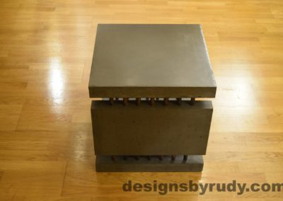 5L Charcoal Concrete Side Table DR0 side view, no flash, Designs by Rudy