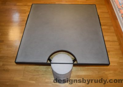Gray Concrete Coffee Table, Black Steel Frame, top angle view 5, Designs by Rudy