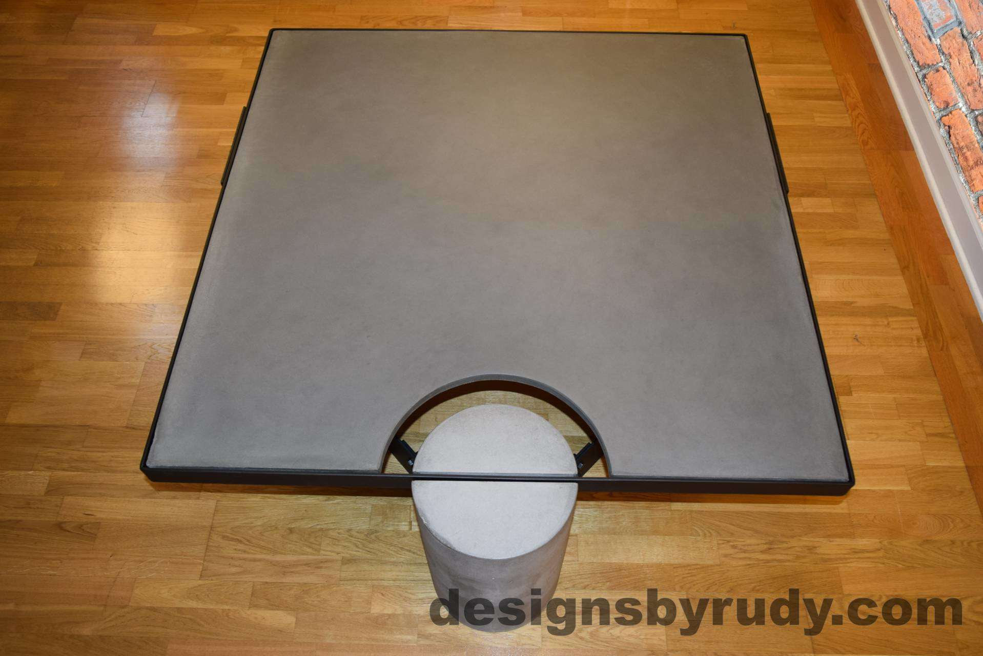 DR30 Gray Concrete Coffee Table with Black Powder Coated