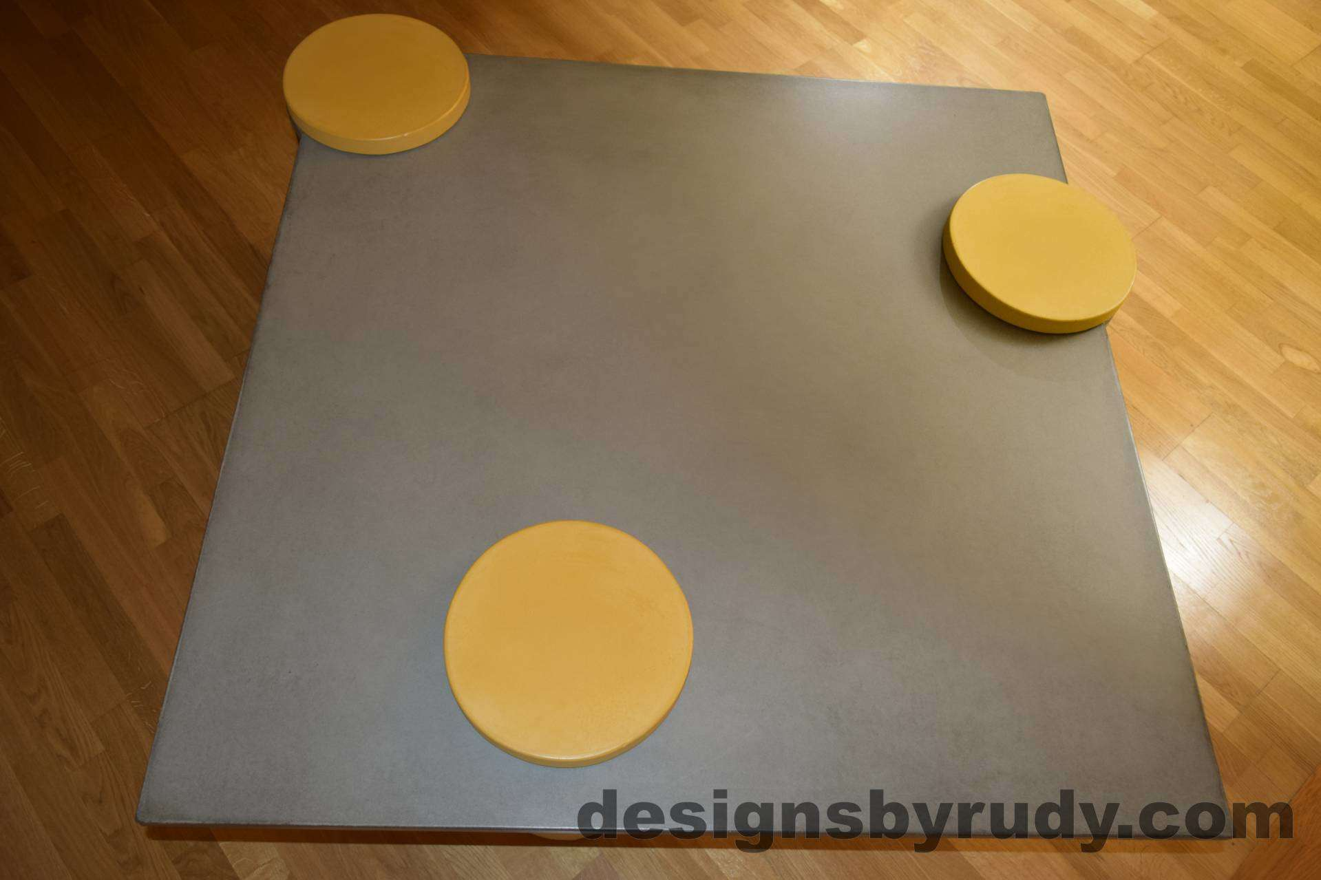 5L Gray Concrete Coffee Table Top with Yellow Caps, Designs by Rudy