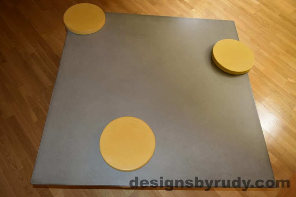 DR18 Gray Concrete Coffee Table Top with Yellow Caps, Designs by Rudy