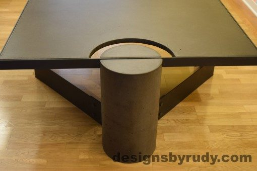 Charcoal Concrete Coffee Table, Black Steel Frame, full round leg view, no flash, Designs by Rudy