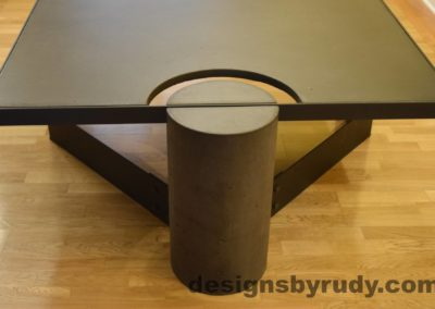 lack Concrete Coffee Table, Black Steel Frame, full round leg view, no flash, Designs by Rudy