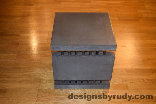 6 Charcoal Concrete Side Table DR0 side view, with flash, Designs by Rudy