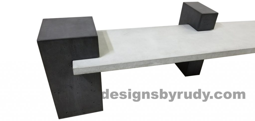DR CB1 concrete bench on 3 pedestals by Designs by Rudy, partial left view, gray slab and 2 charcoal pedestals