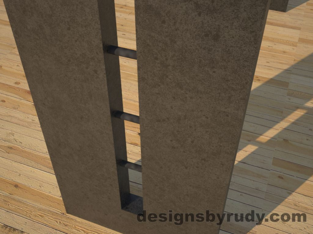 6 Double Split Charcoal Concrete Console Table leg view closeup with steel accents Designs by Rudy