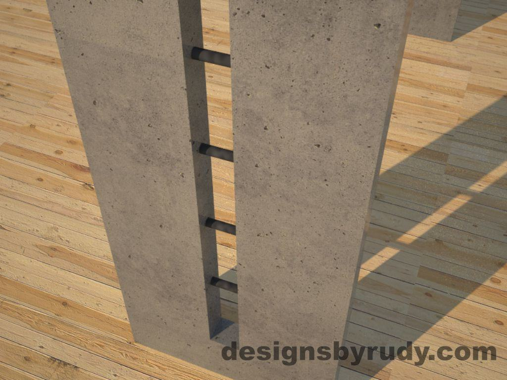 6 Double Split Gray Concrete Console Table leg view closeup with steel accents Designs by Rudy