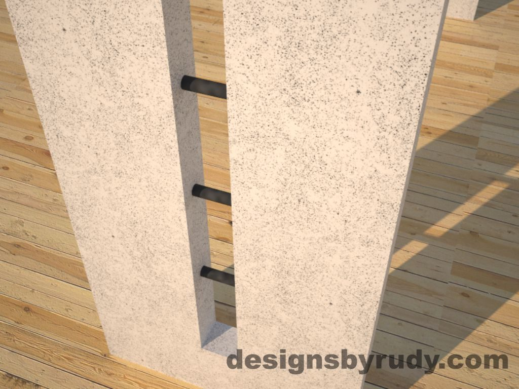 6 Double Split White Concrete Console Table leg view closeup with steel accents Designs by Rudy