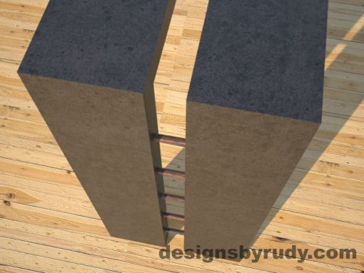 6 Full Split Charcoal Concrete Console Table top corner and leg view with copper accents Designs by Rudy