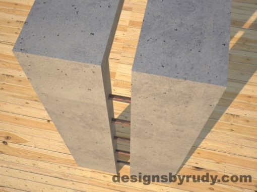 6 Full Split Gray Concrete Console Table with copper accents top corner and leg view, Designs by Rudy