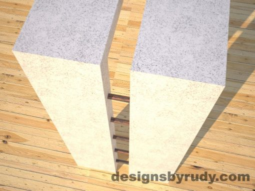 6 Full Split White Concrete Console Table with copper accents top corner and leg view, Designs by Rudy