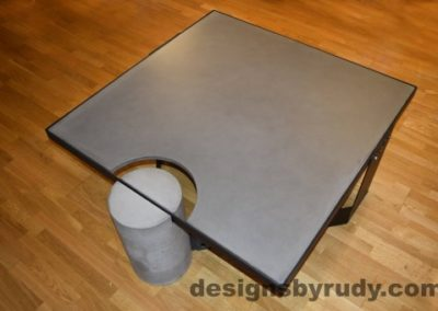 Gray Concrete Coffee Table, Black Steel Frame, top angle view, Designs by Rudy