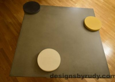 Gray Concrete Coffee Table Top with Charcoal, White, and Yellow Cap, Designs by Rudy DR18
