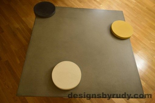 Gray Concrete Coffee Table Top with Charcoal, White, and Yellow Cap, Designs by Rudy