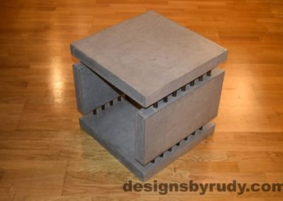 6 Gray Concrete Side Table DR0 full corner view with flash, Designs by Rudy