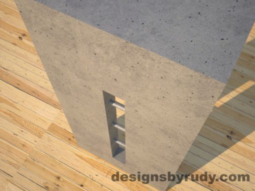 6 Quad Split Gray Concrete Console Table leg view closeup with stainless steel accents Designs by Rudy