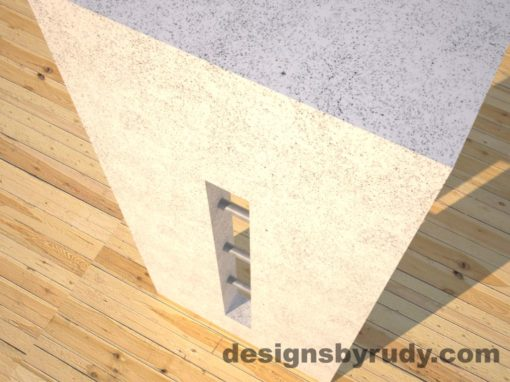 6 Quad Split White Concrete Console Table leg view closeup with stainless steel accents Designs by Rudy