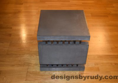6L Charcoal Concrete Side Table DR0 side view, with flash, Designs by Rudy
