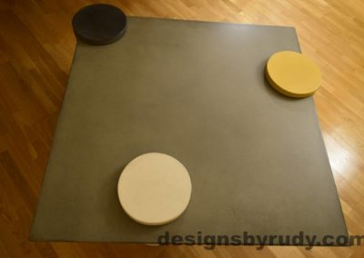 6L Gray Concrete Coffee Table Top with Charcoal, White, and Yellow Cap, Designs by Rudy DR18