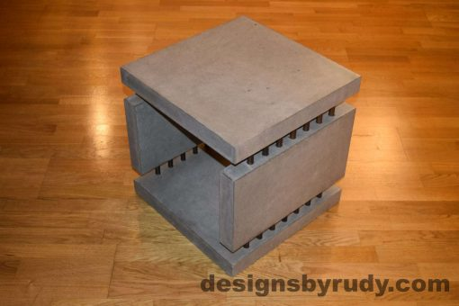 6L Gray Concrete Side Table DR0 full corner view with flash, Designs by Rudy