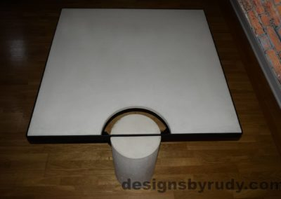 White Concrete Coffee Table, Black Steel Frame, top view, Designs by Rudy