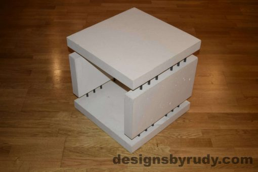 6L White Concrete Side Table DR0 full top corner view, with flash, Designs by Rudy