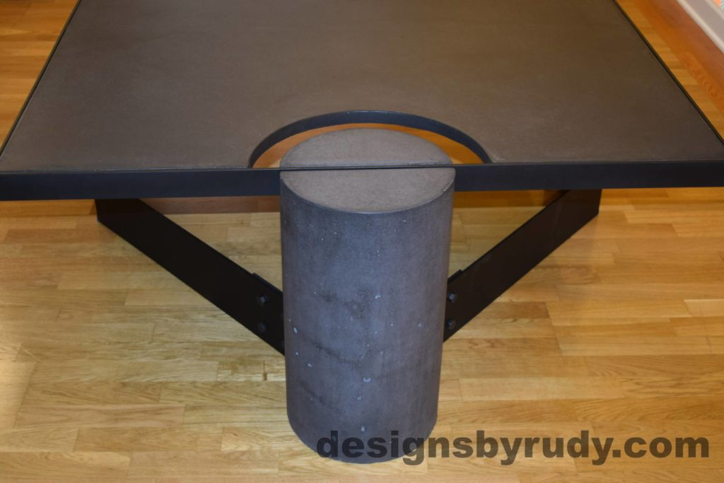 Black Concrete Coffee Table, Black Steel Frame, full round leg view, with flash, Designs by Rudy