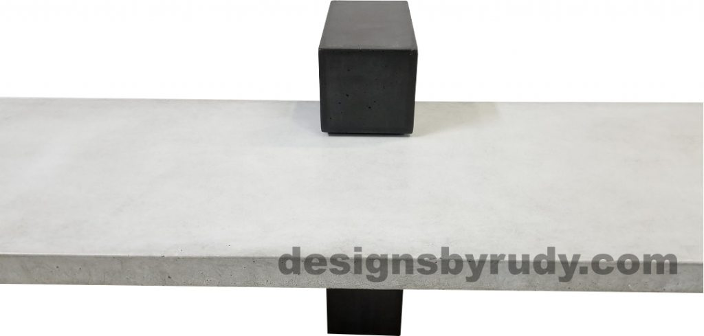 DR CB1 concrete bench on 3 pedestals by Designs by Rudy, center - gray slab and small charcoal pedestal