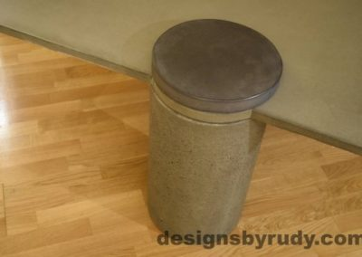 Gray Concrete Coffee Table, Gray Pillar and Charcoal Cap closeup no flash, Designs by Rudy