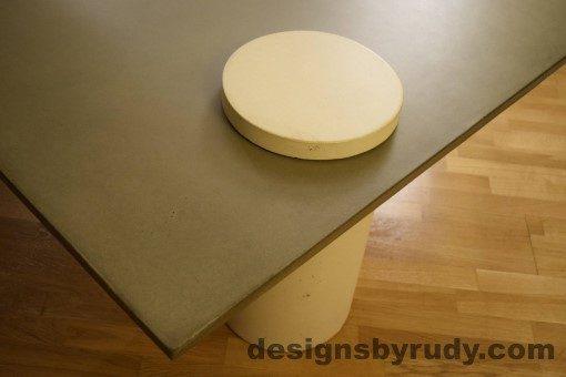 Gray Concrete Coffee Table, White Pillar and White Cap closeup no flash, Designs by Rudy