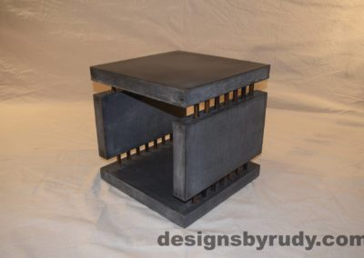 7L Charcoal Concrete Side Table DR0 front corner view 2, with flash, white bg, Designs by Rudy