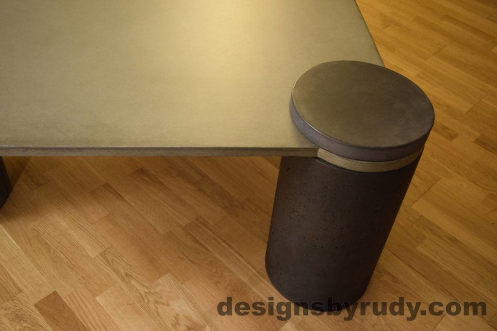 DR18 Gray Concrete Coffee Table, Charcoal Pillar and Charcoal Cap closeup no flash, Designs by Rudy