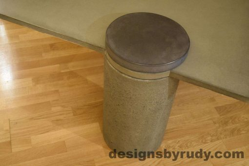 7L Gray Concrete Coffee Table, Gray Pillar and Charcoal Cap closeup no flash, Designs by Rudy