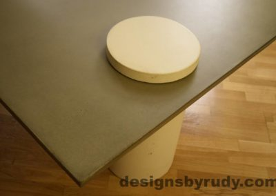 7L Gray Concrete Coffee Table, White Pillar and White Cap closeup no flash, Designs by Rudy DR18