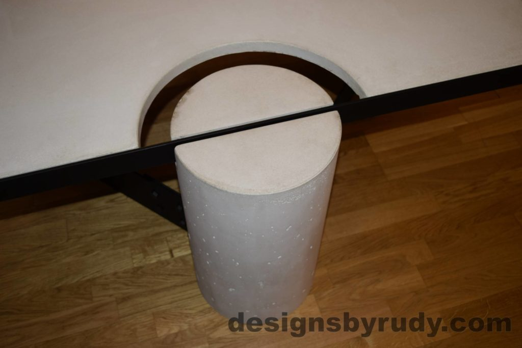 White Concrete Coffee Table, Black Steel Frame, concrete leg and steel frame joint top view, Designs by Rudy