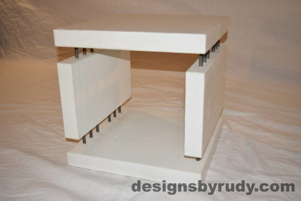 7L White Concrete Side Table DR0 full top angle view, with flash, Designs by Rudy