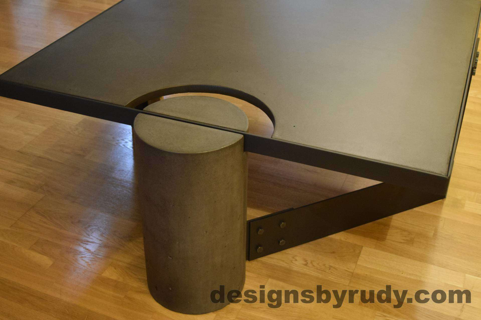 Black Concrete Coffee Table, Black Steel Frame, Full Round Leg Side View, No