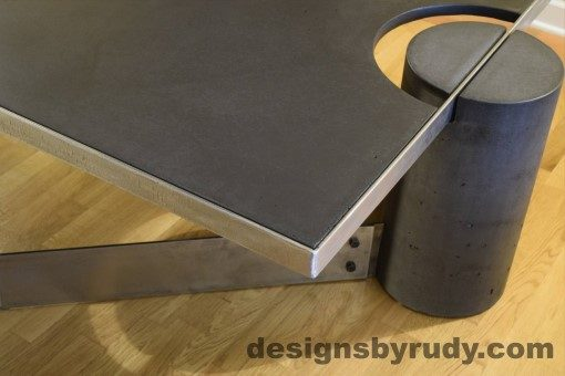 Charcoal Concrete Coffee Table, Polished Steel Frame, frame corner and leg side view, no flash Designs by Rudy