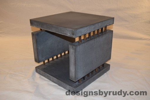 8 Charcoal Concrete Side Table DR0 front corner view, with flash, white bg, Designs by Rudy