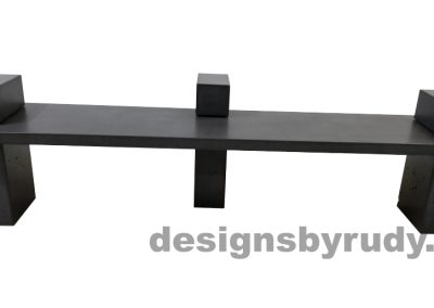 DR CB1 concrete bench on 3 pedestals by Designs by Rudy, front view, slab and pedestals in charcoal concrete