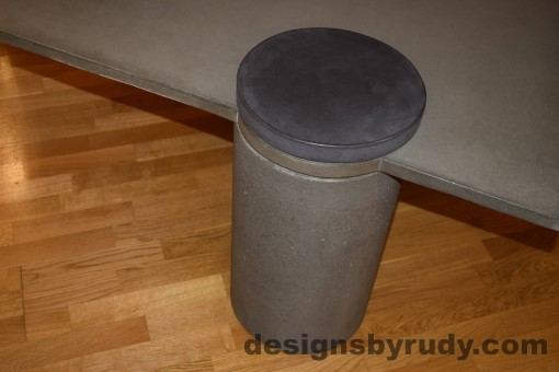 Gray Concrete Coffee Table, Gray Pillar and Charcoal Cap closeup with flash, Designs by Rudy