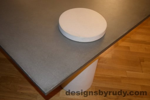 Gray Concrete Coffee Table, White Pillar and White Cap closeup with flash, Designs by Rudy